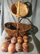 8 Ostereier,gänse,Handbemalt,2 Körbe,weide