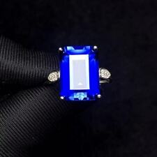 Certified Romantic Natural Sapphire Ring 925 Sterling Silver White Women Gift