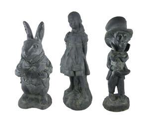 Alice in Wonderland White Rabbit, Mad Hatter, Alice Oxidized Garden Statue Set