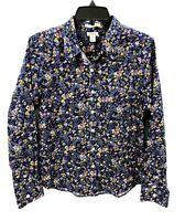 L.L. Bean Womens Petite Small Shirt Blue Floral Print Long Sleeve Button Up NWT