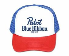Pabst Blue Ribbon beer hat script trucker hat mesh hat red white blue party hat