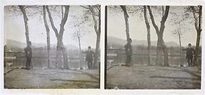 FRANCE Deux hommes Photo Plaque de verre Stereo VR20n1 Vintage c1910
