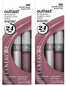 2 x Covergirl Outlast All Day Two Step Long Lasting  Lipcolor 550 Blushed Mauve