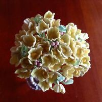 Vintage Millinery Flowers Forget Me Not Yellow Cluster for Hat Wedding + Hair Y1
