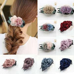 Women Hair Claw Spun Yarn Double Floral Barrettes Hair Accessories Hair Grab NEW