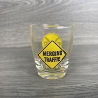 Rail Road Crossing Merging Traffic Sign SHOT GLASS Whiskey Shot Glass