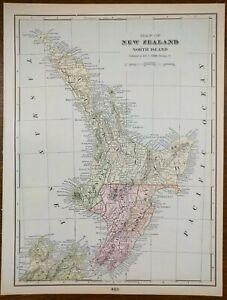 "Vintage 1900 NEW ZEALAND North Island Map 11""x14"" Old Antique Original AUCKLAND"