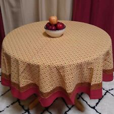 "Handmade 100% Cotton Floral Vine Print 72"" Round Tablecloth Red Tan"