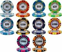 NEW 500 Piece Monte Carlo 14 Gram Clay Poker Chips Bulk Lot Pick Your Chips