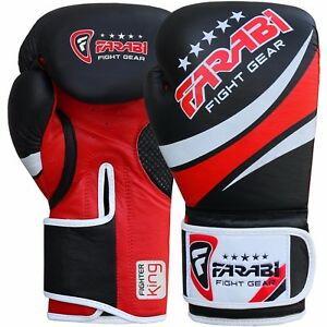 Farabi Real Leather Boxing Gloves MMA Punching Sparring Training Gloves