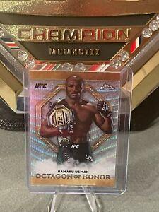 2019 UFC Topps Chrome Kamaru Usman Insert Octagon of Honor Pulsar /99