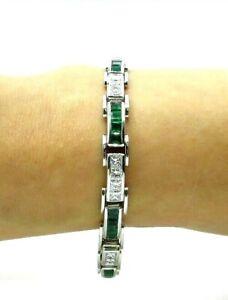 14k White Gold Over 9.Ct Princess Emerald & Diamond Channel Tennis Bracelet