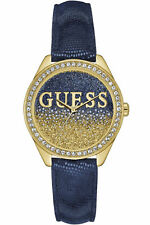 New Guess Ladies W0823L5 Round Dial Crystals Leather Blue Metallic Band Watch