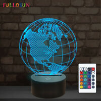 Earth America Globe 3D Illusion LED Night Light 16 Color Desk Table lamp Gifts