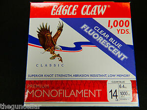 New Premium Eagle Claw Fishing Line, 1000 yards 14 lb Mono, Clear Blue, Tackle