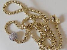 $4250 DAVID YURMAN 18K SOLID GOLD DIAMOND BALL BOX CHAIN NECKLACE
