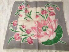 Vintage Ladies Hankie Pretty Handkerchief Flowers Florals Pink lily pad green