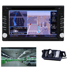 Double 2 Din In Dash Stereo Receiver GPS Navi Car DVD Player Audio System+Camera