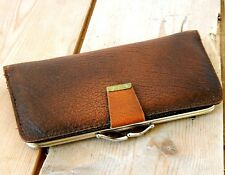 Vintage Ladies Real Leather Combined Purse & Wallet - Brown - Made in England