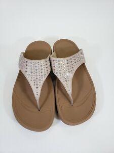 Fit Flop Beige Tan Silver Bling Rhinestones Slip-on Thong Flip Flops Size 8