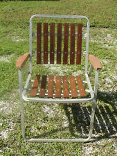 1 Vintage Mid Century Aluminum and Redwood Folding Lawn Chair