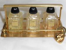 Vintage 3 Miniature Mode Perfume Bottles in Locking Holder USA