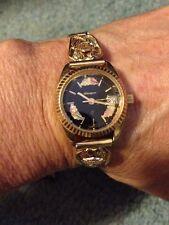 Ladies Harley Stamper Black Hills Tri Gold 10K Shield Watch Band Black Face Date