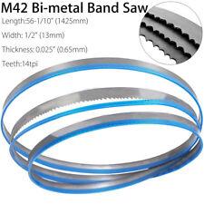 M42 Bi-metal Band Saw Blades Cutting Metal 56-1/10 x 1/2'' x14tpi/1425*13*0.65mm