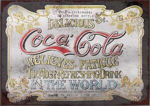 Original Coca-Cola, A4 Retro Vintage Metal Sign Plaque Advertising Wall Art Pic