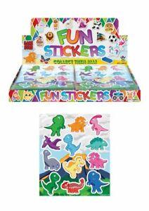 12 x Dinosaur Sticker Sheets Kids Childrens Party Bag Fillers