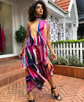 new CAMILLA FRANKS SILK SWAROVSKI FOLK RIVER ASYMMETRICAL NECK TIE DRESS layby .