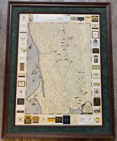 Vintage Expedition Sonoma 2001 Wine Map Framed No Glass Pre-owned