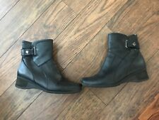 LADIES CLARKS BLACK WEDGE ANKLE BOOTS SIZE UK  5.5
