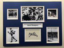 """Boxing Jack Dempsey Signed 16"""" X 12"""" Double Mounted Display"""