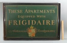 RARE Antique 1920s FRIGIDAIRE Apartment Refrigerator Enamel Advertising Sign, NR