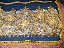 Vintage antique altar cloth Ottoman gold thread work black felt rich embroidery
