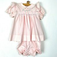 Vintage Alexis Pink dress Lace Flowers with Bottoms Bloomer 10-13 lb Baby Doll