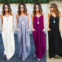 Women V Neck Sleeveless Casual Loose Long Maxi Dress Summer Beach Slip Sundress
