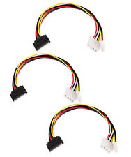 "3x 12"" 15Pin SATA Serial ATA Male to 4Pin Molex + 4Pin Floppy Female Power Cable"