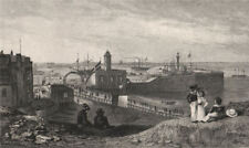 Margate. The pier and new light house. Kent. SHEPHERD 1829 old antique print