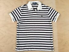 Polo Ralph Lauren Shirt M Medium Striped Cream Blue Maroon Custom Fit