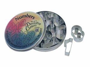 9 Piece Mini Number Cookie Cutter Set in a Tin