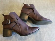 Mia size 6 (US8) brown faux leather buckle strap block heel ankle boots