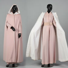 Large 1970s Pink Knit Maxi Dress with Reversible Cape VTG Custom Made Long Cloak