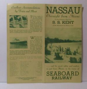 1939 NASSAU - S.S. KENT Brochure SEABOARD RAILWAY # 2814