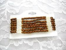 BROWN WOODEN BEAD STRETCH BRACELET & SEED BEAD ACCENTS
