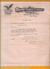 7175 Republic Rubber 1909 letterhead Nathan F. Meyer, Newburgh, NY Am bald eagle
