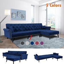 Velvet Sofa Bed Sleeper Futon Convertible Modern Couch Living Room Furniture Set