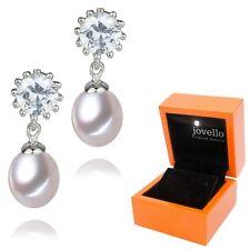 Perlen Zuchtperlen Zirkonia Ohrstecker Ohrring 8mm aus 925 Silber + LED Box
