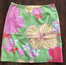 Lilly Pulitzer Womens Green Tropical Floral Hibiscus Print Skirt Size 2 Lined